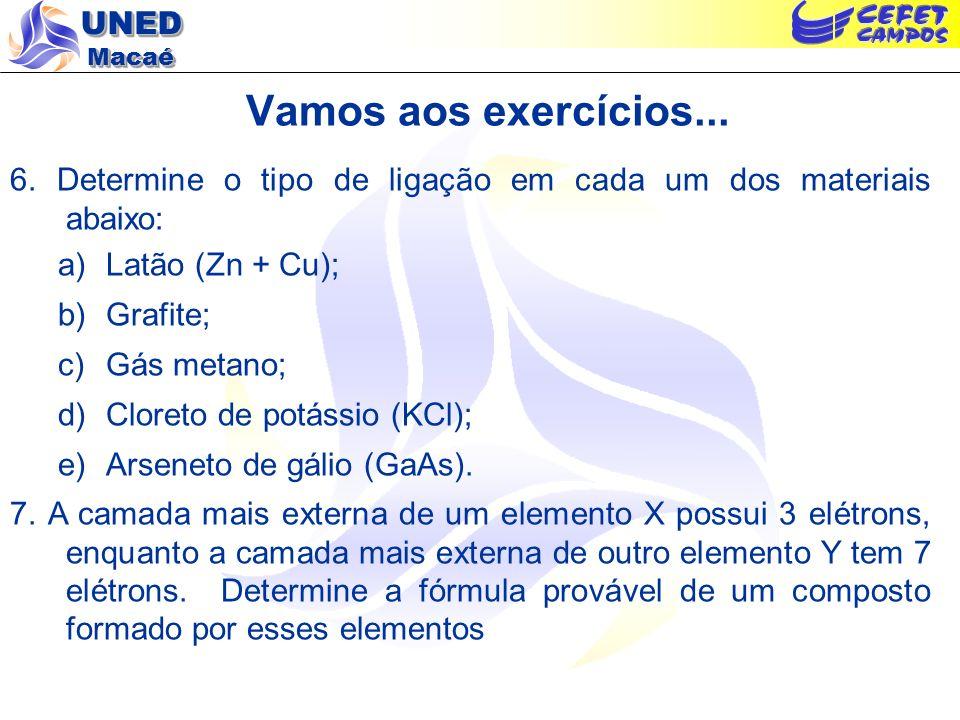 Vamos aos exercícios...6. Determine o tipo de ligação em cada um dos materiais abaixo: Latão (Zn + Cu);