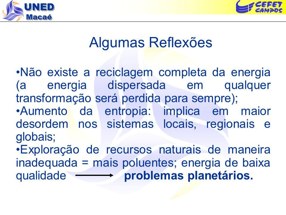 Algumas Reflexões Não existe a reciclagem completa da energia (a energia dispersada em qualquer transformação será perdida para sempre);
