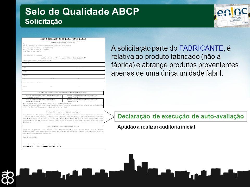 Selo de Qualidade ABCP Solicitação