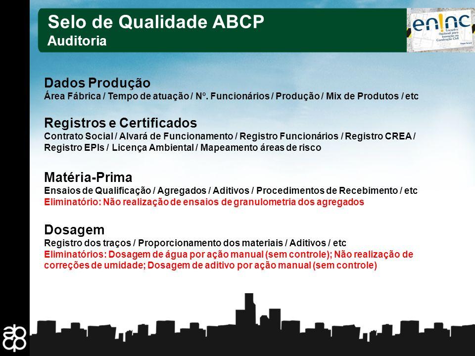 Selo de Qualidade ABCP Auditoria Dados Produção