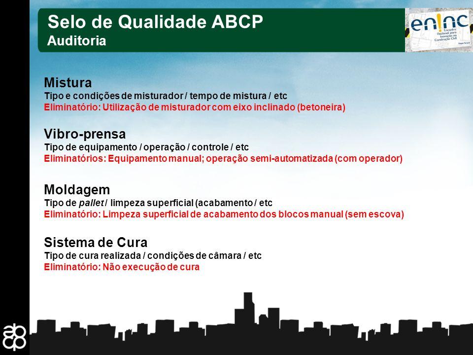 Selo de Qualidade ABCP Auditoria Mistura Vibro-prensa Moldagem