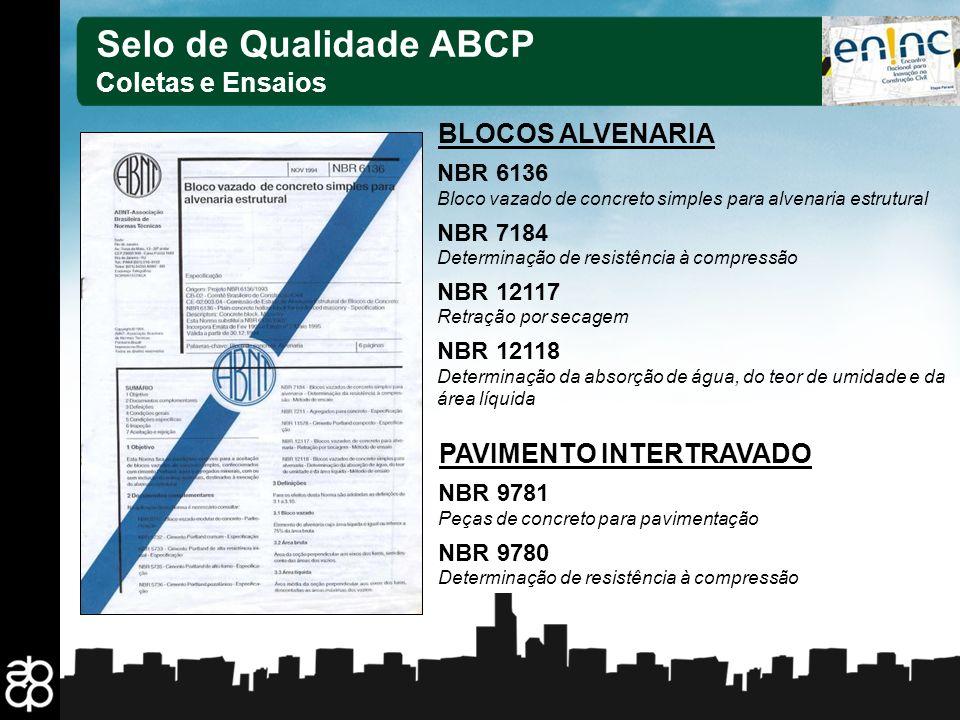 Selo de Qualidade ABCP Coletas e Ensaios BLOCOS ALVENARIA