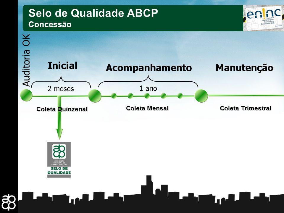 Selo de Qualidade ABCP Inicial Auditoria OK Acompanhamento Manutenção