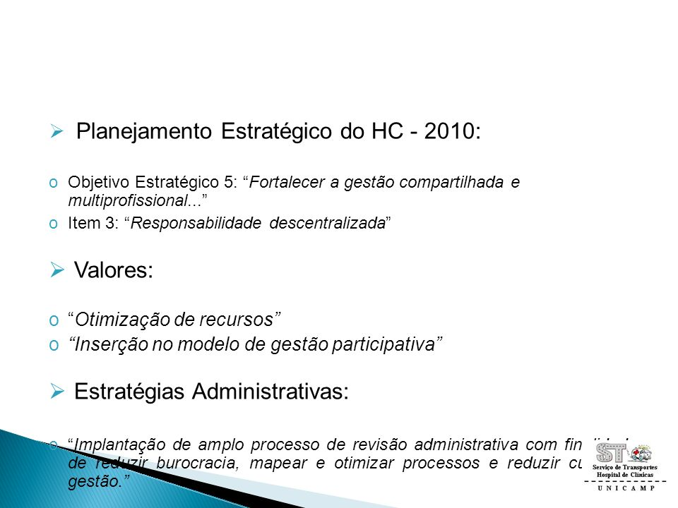 Planejamento Estratégico do HC - 2010: