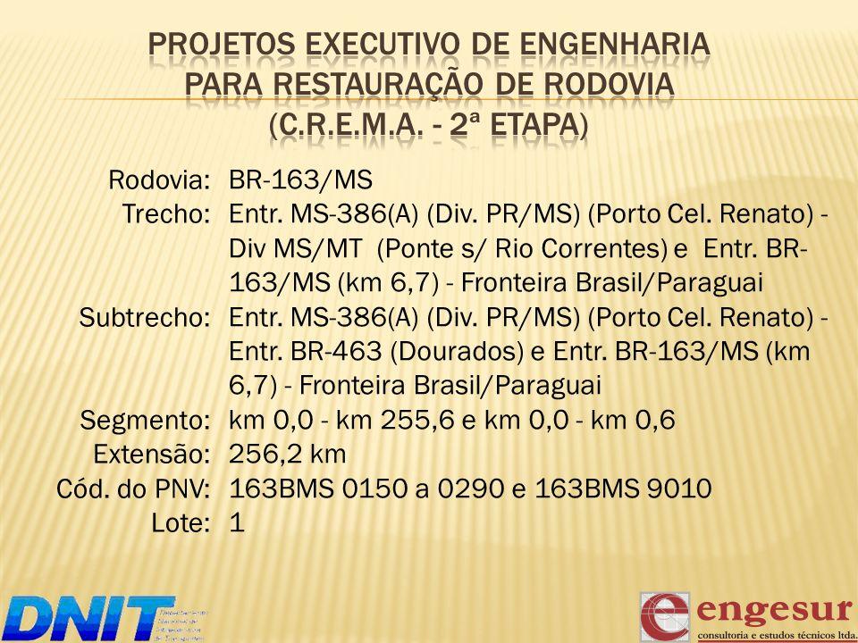 PROJETOS EXECUTIVO DE ENGENHARIA PARA RESTAURAÇÃO DE RODOVIA (C. R. E