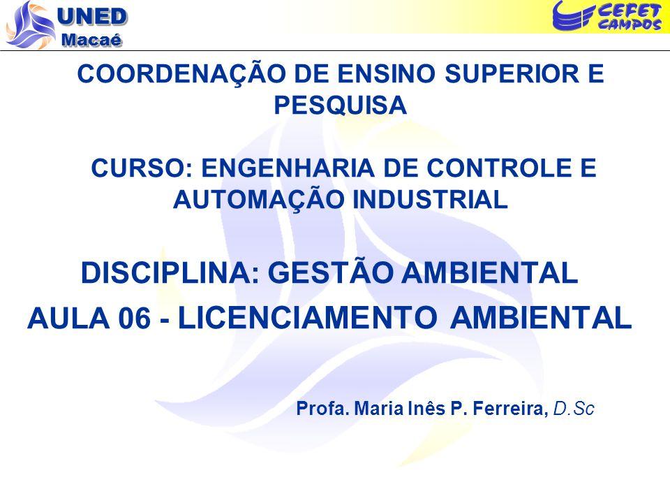DISCIPLINA: GESTÃO AMBIENTAL AULA 06 - LICENCIAMENTO AMBIENTAL