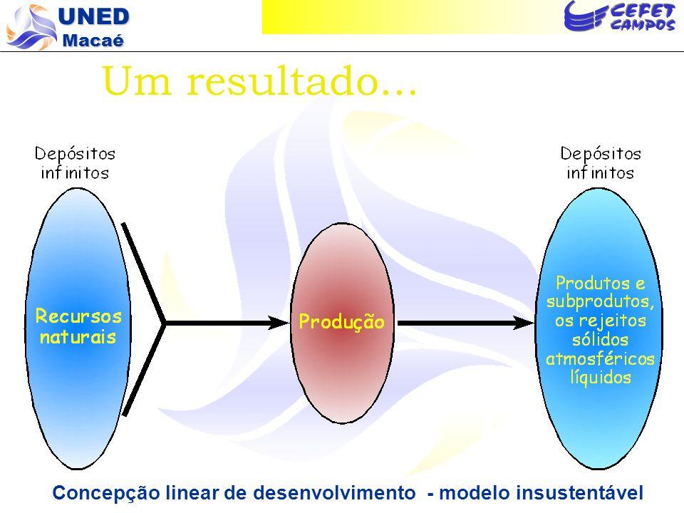 Um resultado... Concepção linear de desenvolvimento - modelo insustentável