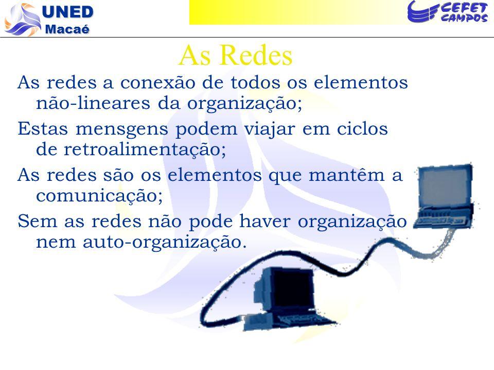 As Redes As redes a conexão de todos os elementos não-lineares da organização; Estas mensgens podem viajar em ciclos de retroalimentação;