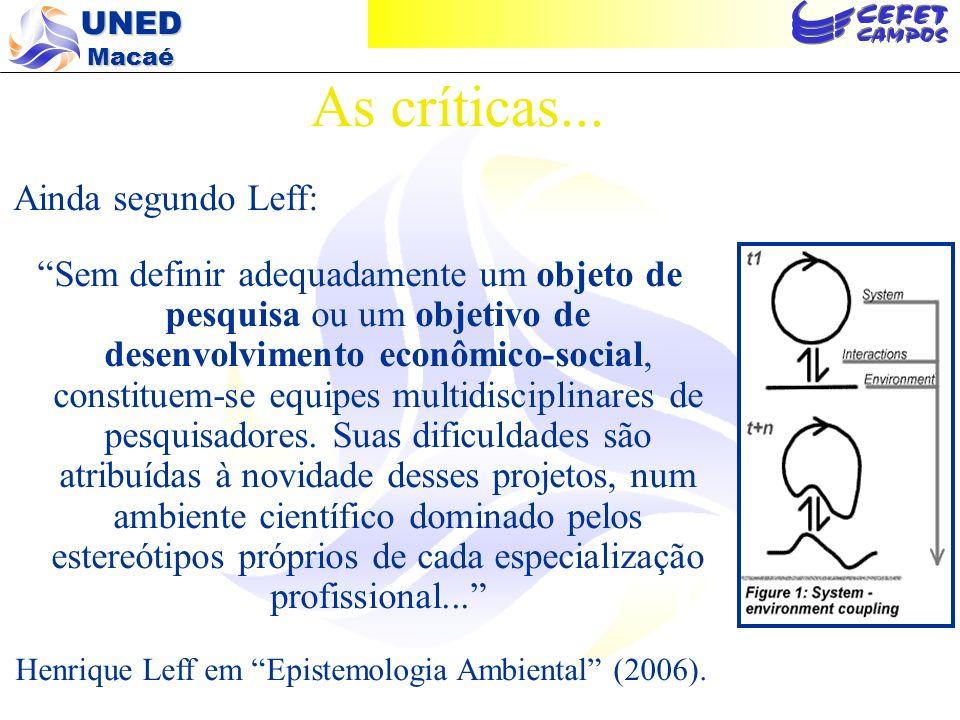 As críticas... Ainda segundo Leff:
