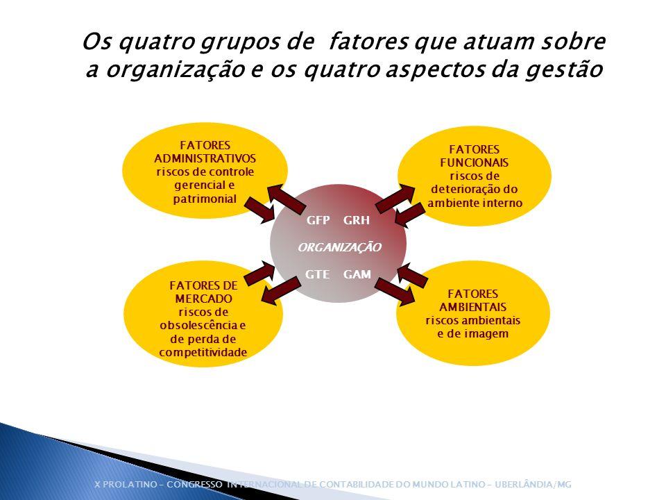 Os quatro grupos de fatores que atuam sobre a organização e os quatro aspectos da gestão