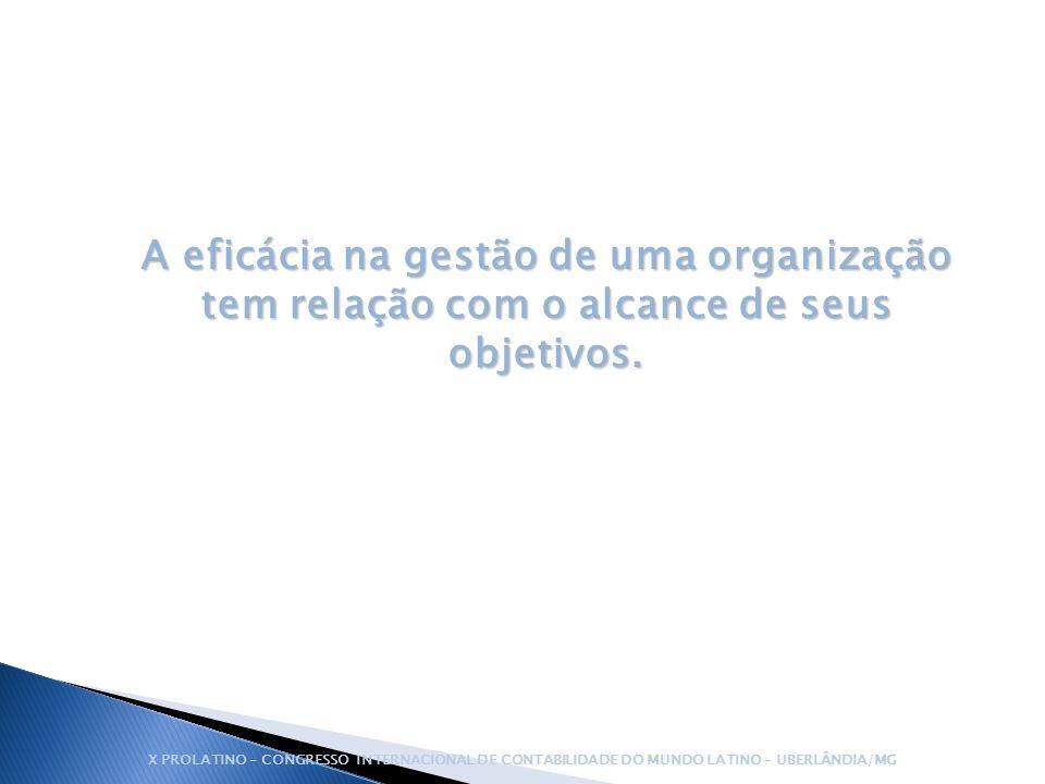 A eficácia na gestão de uma organização tem relação com o alcance de seus objetivos.