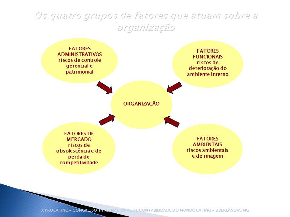 Os quatro grupos de fatores que atuam sobre a organização