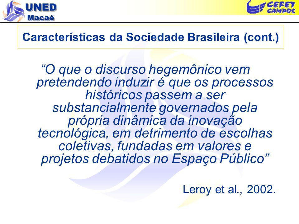 Características da Sociedade Brasileira (cont.)
