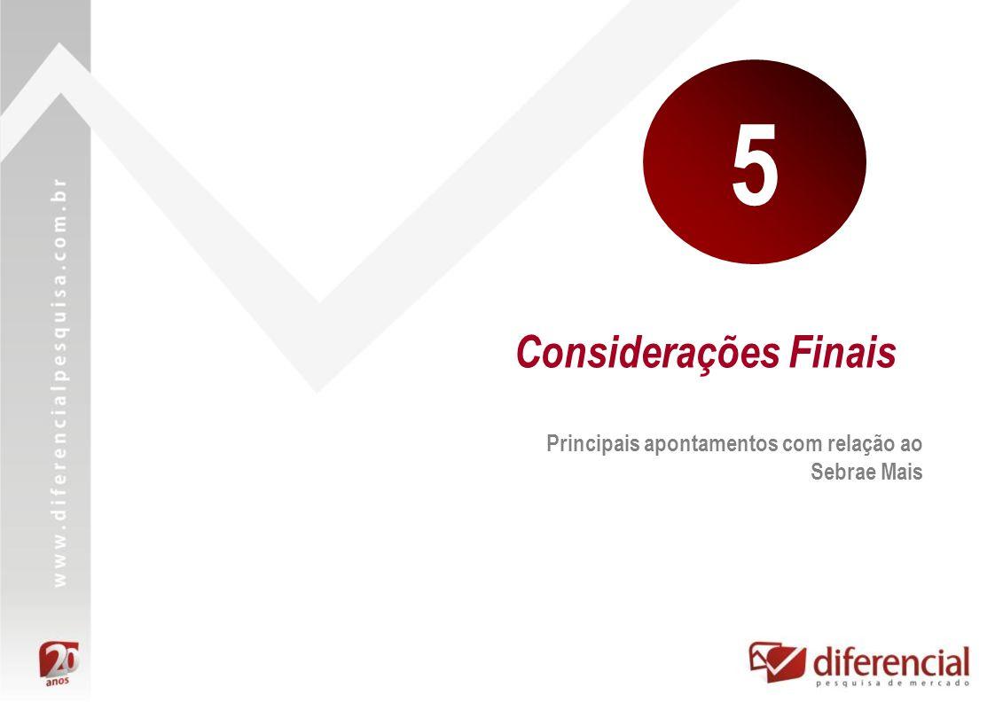 5 Considerações Finais Principais apontamentos com relação ao Sebrae Mais