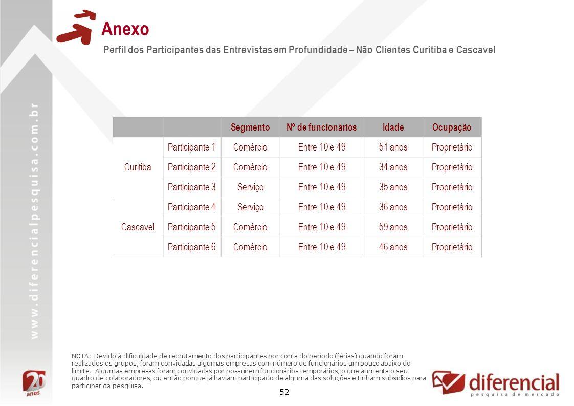 Anexo Perfil dos Participantes das Entrevistas em Profundidade – Não Clientes Curitiba e Cascavel. Segmento.