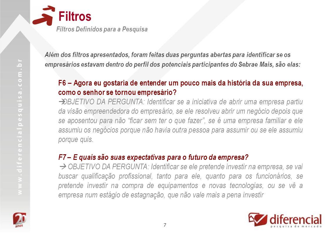 Filtros Filtros Definidos para a Pesquisa.