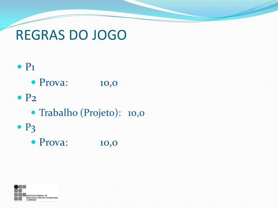 REGRAS DO JOGO P1 Prova: 10,0 P2 Trabalho (Projeto): 10,0 P3