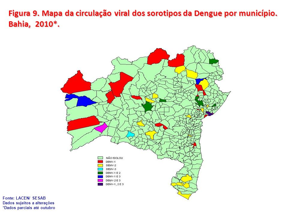 Figura 9. Mapa da circulação viral dos sorotipos da Dengue por município. Bahia, 2010*.