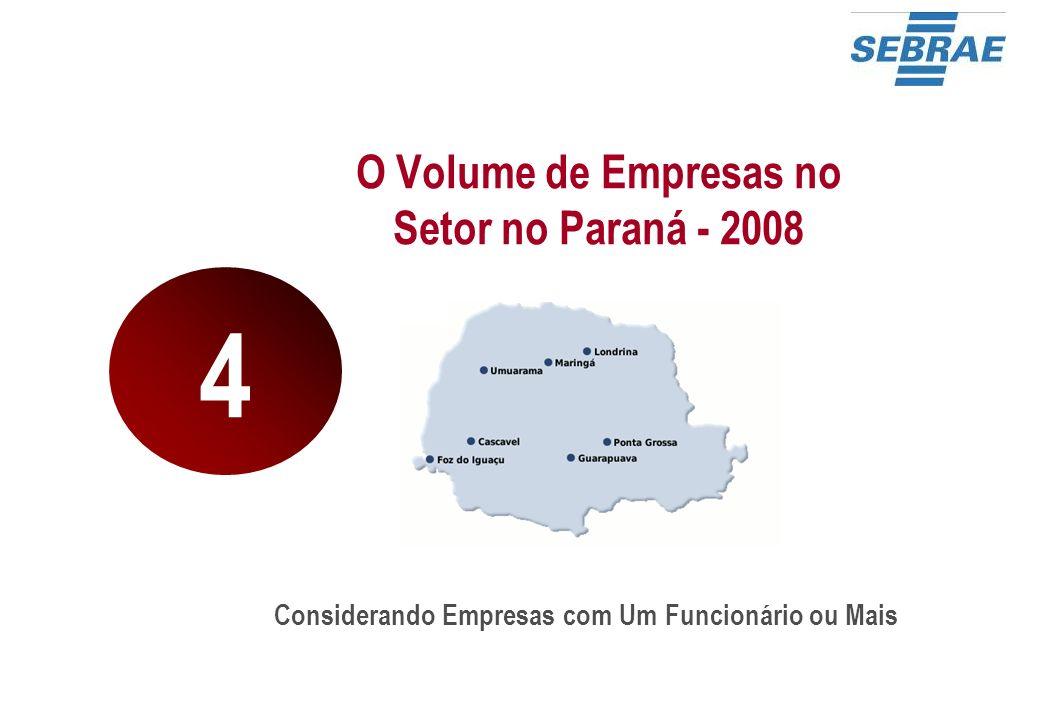 O Volume de Empresas no Setor no Paraná - 2008