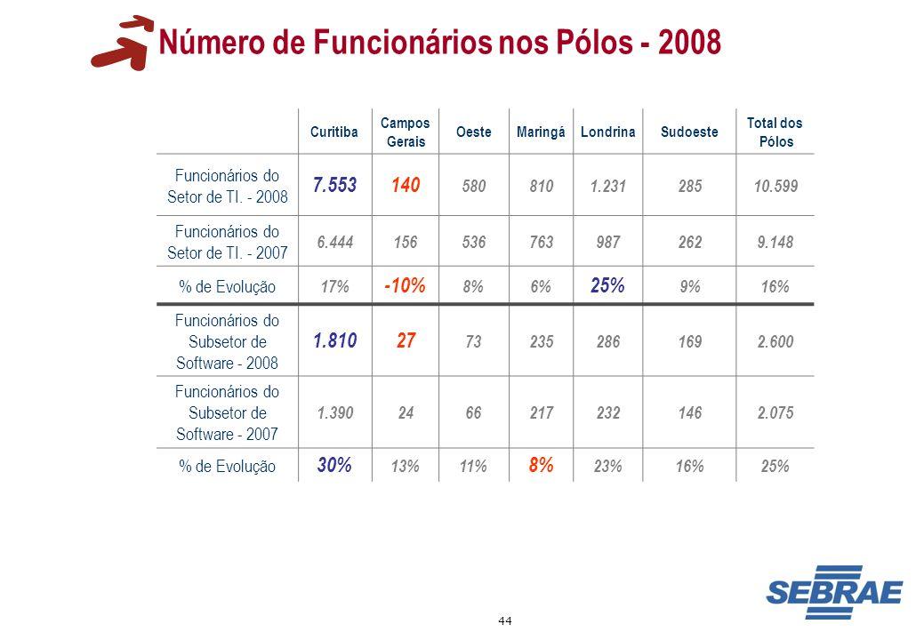 Número de Funcionários nos Pólos - 2008
