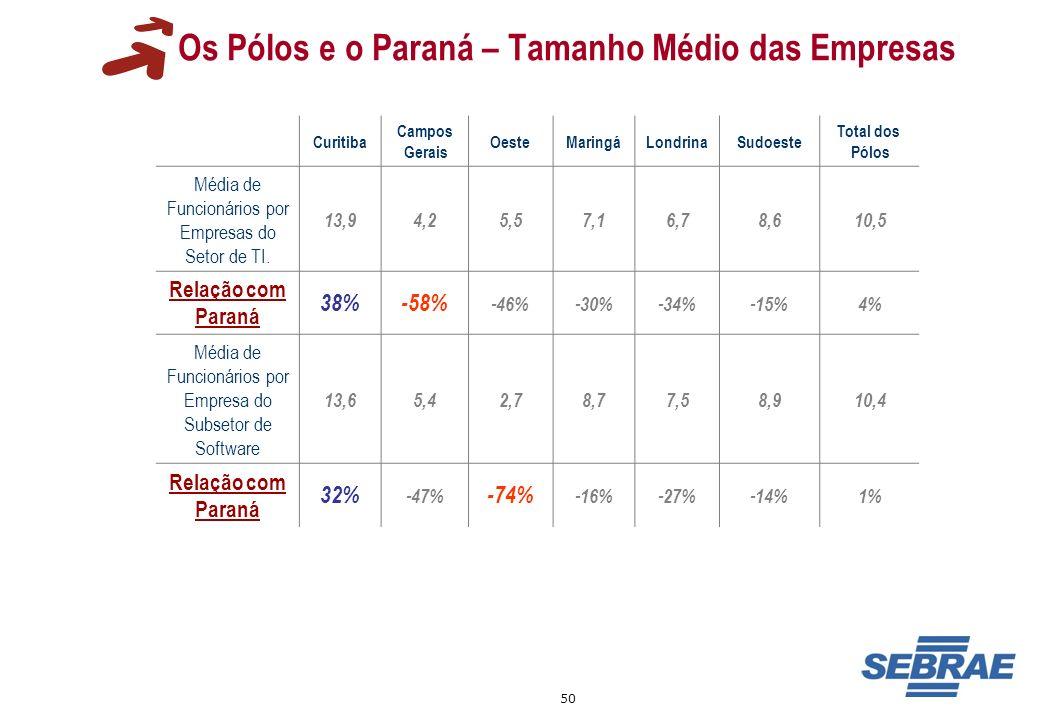 Os Pólos e o Paraná – Tamanho Médio das Empresas