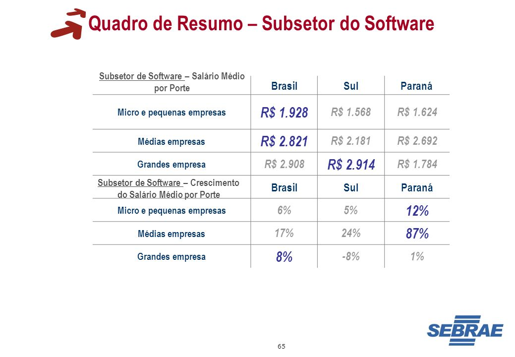 Quadro de Resumo – Subsetor do Software