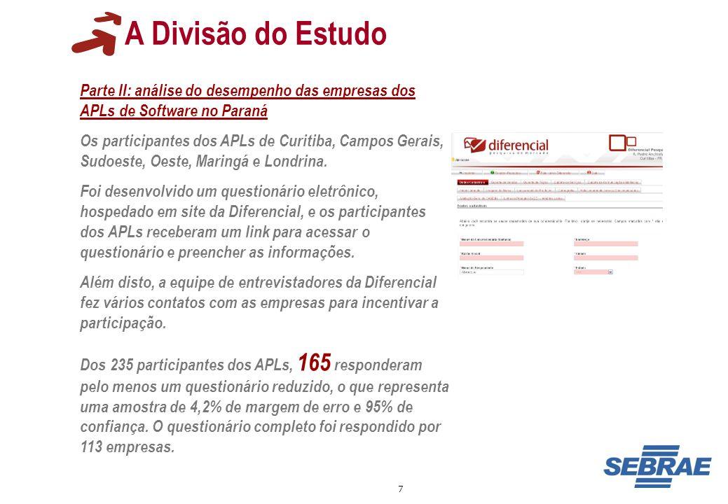 A Divisão do EstudoParte II: análise do desempenho das empresas dos APLs de Software no Paraná.