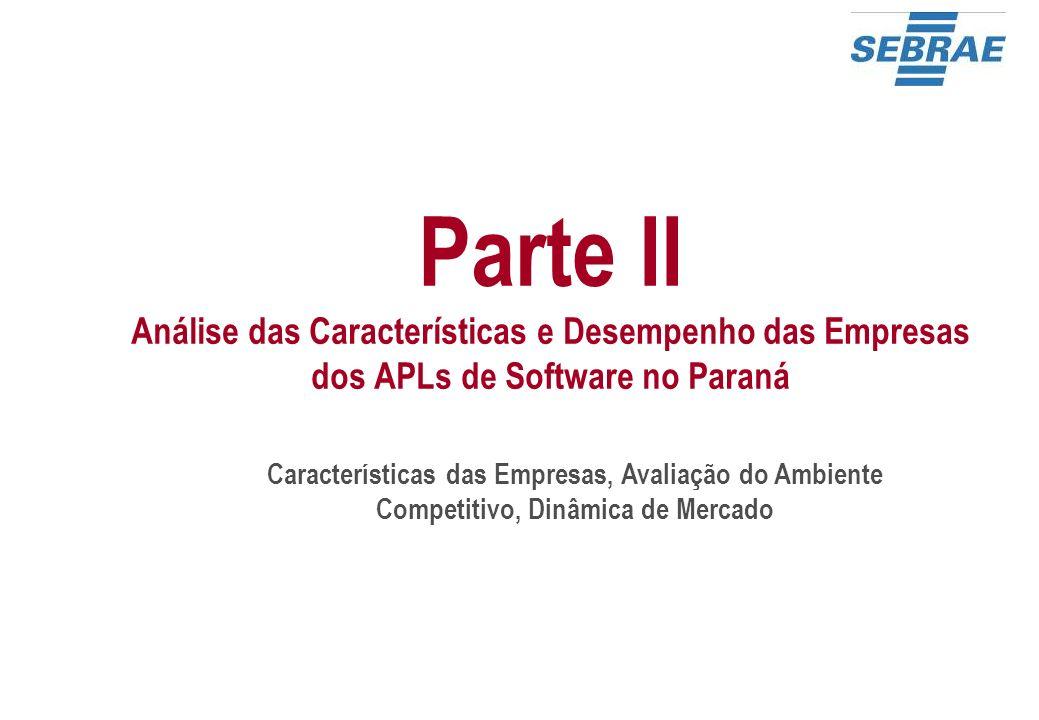 Parte II Análise das Características e Desempenho das Empresas dos APLs de Software no Paraná