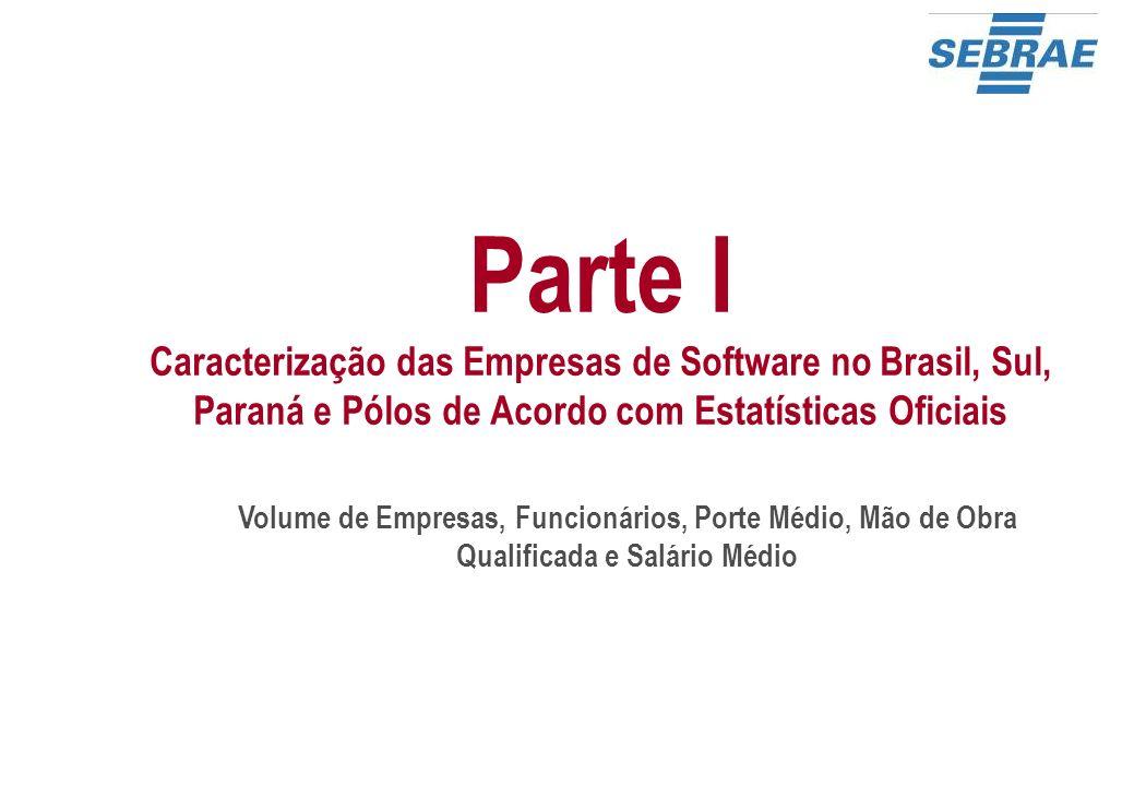 Parte I Caracterização das Empresas de Software no Brasil, Sul, Paraná e Pólos de Acordo com Estatísticas Oficiais
