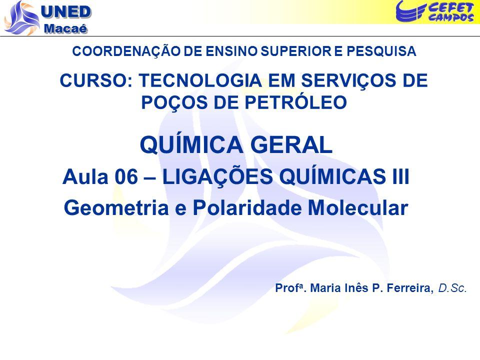 Aula 06 – LIGAÇÕES QUÍMICAS III Geometria e Polaridade Molecular