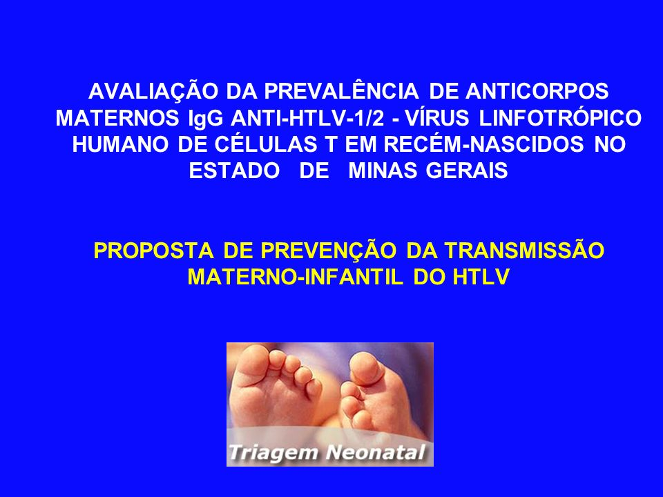 AVALIAÇÃO DA PREVALÊNCIA DE ANTICORPOS MATERNOS IgG ANTI-HTLV-1/2 - VÍRUS LINFOTRÓPICO HUMANO DE CÉLULAS T EM RECÉM-NASCIDOS NO ESTADO DE MINAS GERAIS PROPOSTA DE PREVENÇÃO DA TRANSMISSÃO MATERNO-INFANTIL DO HTLV