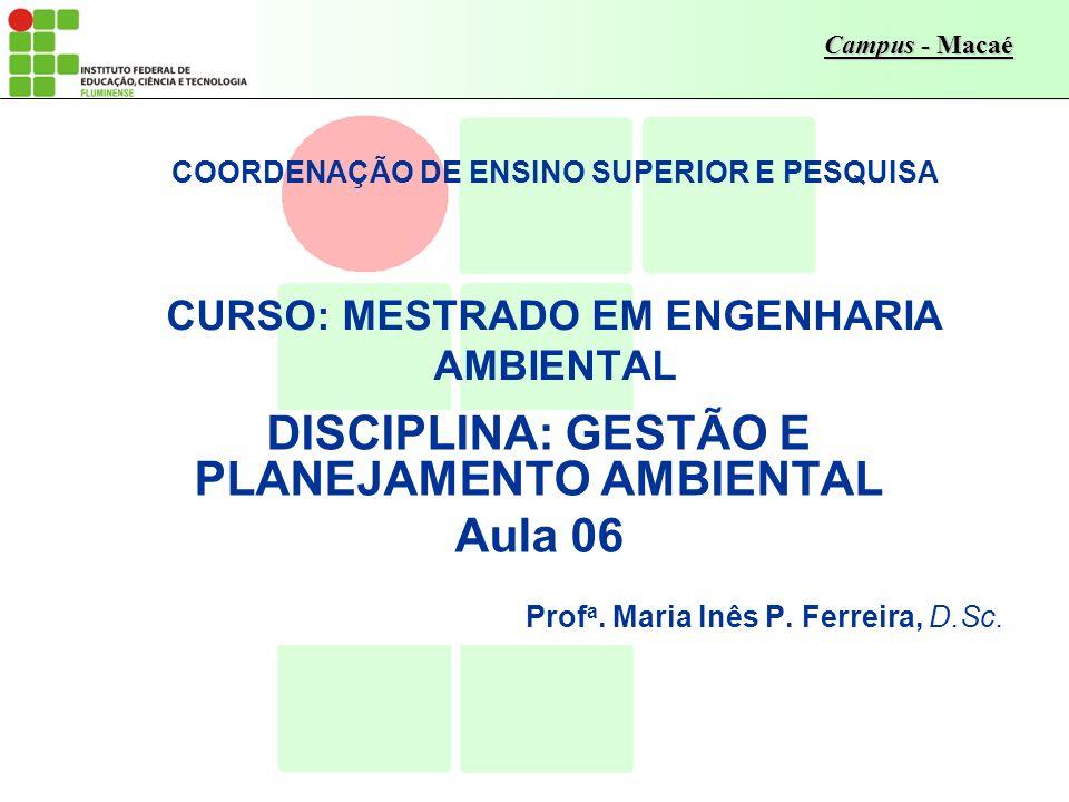 DISCIPLINA: GESTÃO E PLANEJAMENTO AMBIENTAL
