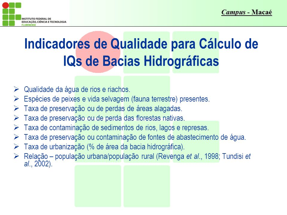 Indicadores de Qualidade para Cálculo de IQs de Bacias Hidrográficas
