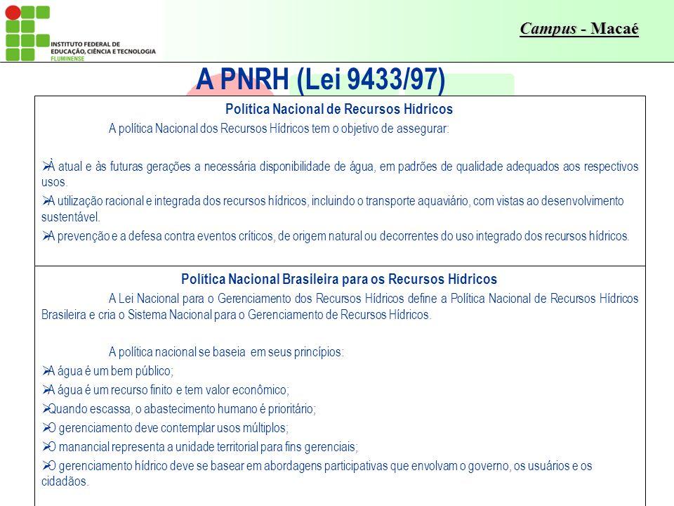 A PNRH (Lei 9433/97) Política Nacional de Recursos Hídricos