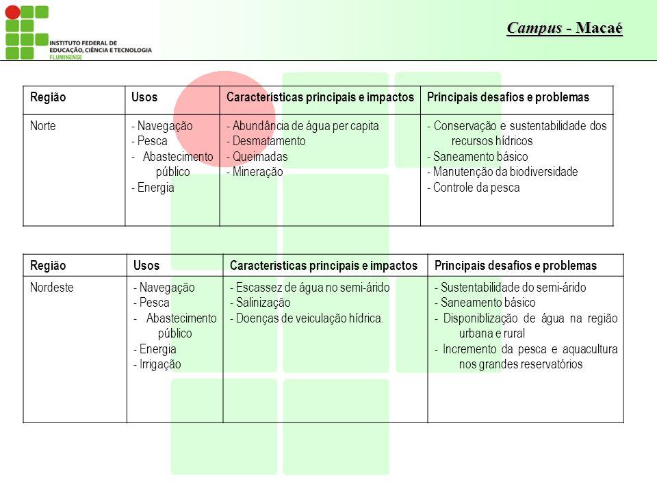 Região Usos. Características principais e impactos. Principais desafios e problemas. Norte. - Navegação.