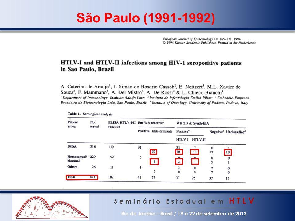 São Paulo (1991-1992) S e m i n á r i o E s t a d u a l e m H T L V