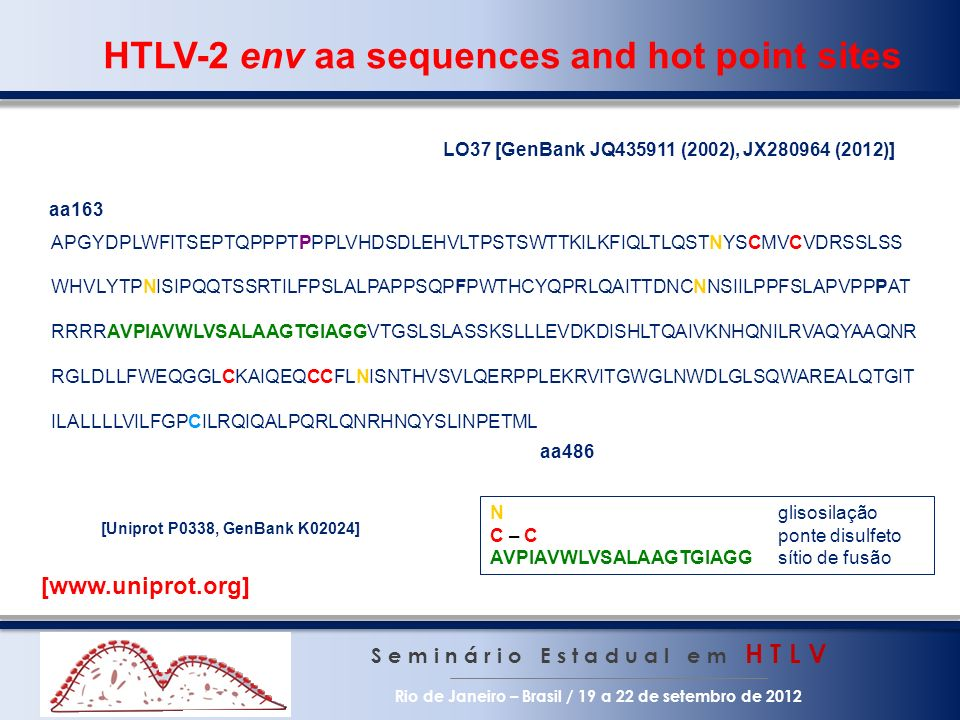 HTLV-2 env aa sequences and hot point sites