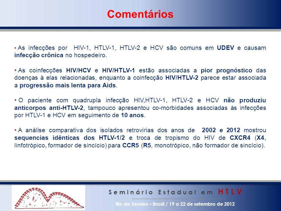 Comentários As infecções por HIV-1, HTLV-1, HTLV-2 e HCV são comuns em UDEV e causam infecção crônica no hospedeiro.
