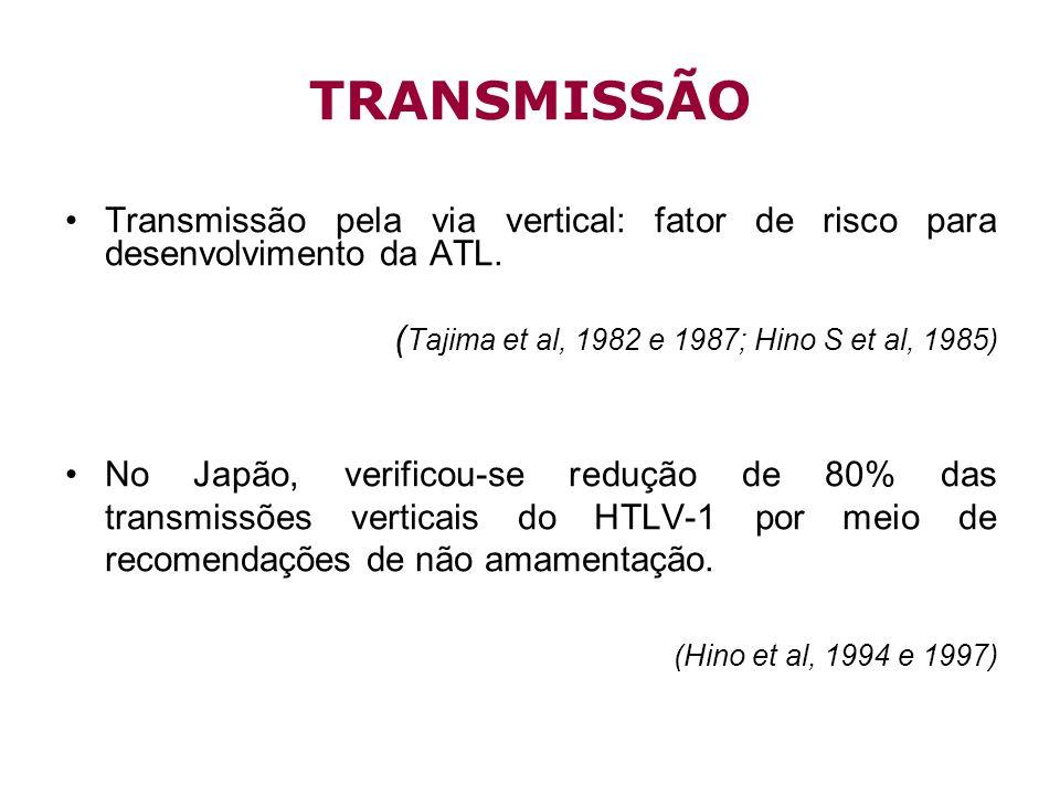 TRANSMISSÃO Transmissão pela via vertical: fator de risco para desenvolvimento da ATL. (Tajima et al, 1982 e 1987; Hino S et al, 1985)