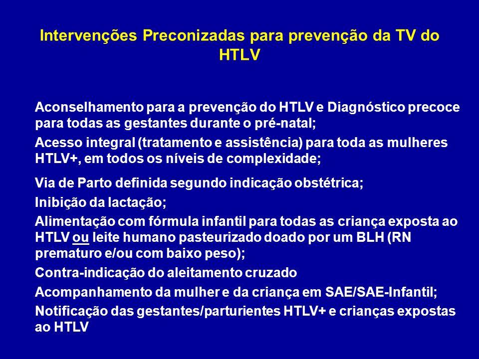 Intervenções Preconizadas para prevenção da TV do HTLV
