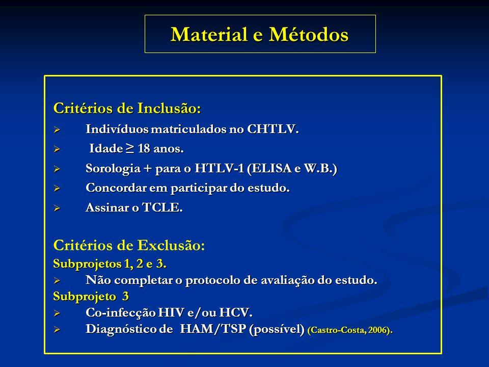 Material e Métodos Critérios de Inclusão: Critérios de Exclusão: