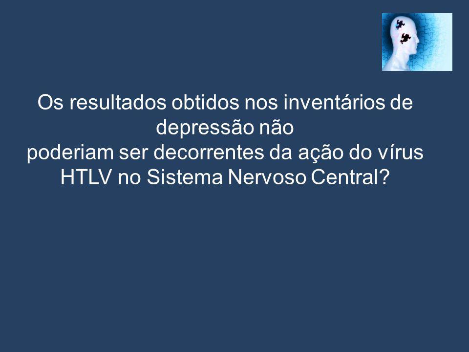Os resultados obtidos nos inventários de depressão não