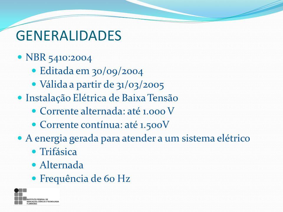 GENERALIDADES NBR 5410:2004 Editada em 30/09/2004