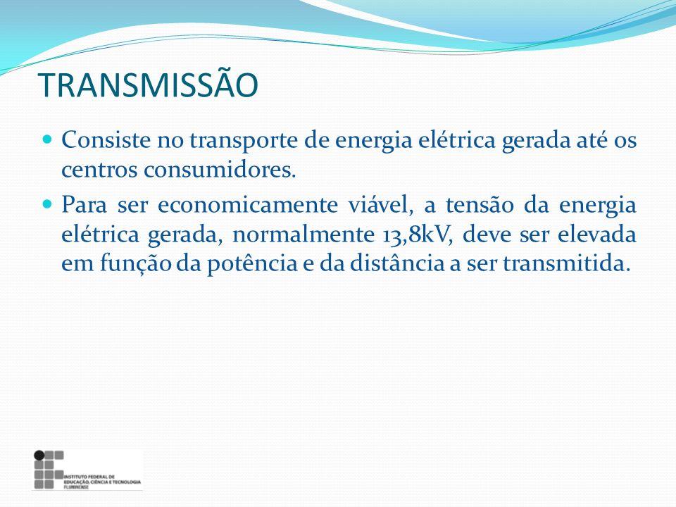 TRANSMISSÃO Consiste no transporte de energia elétrica gerada até os centros consumidores.