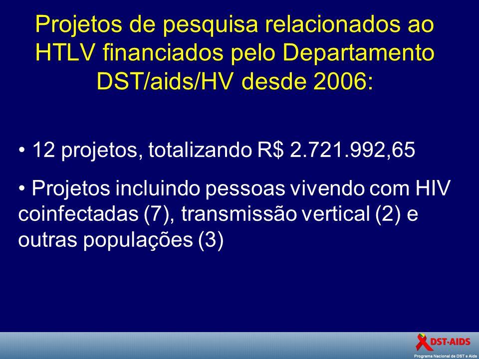 Projetos de pesquisa relacionados ao HTLV financiados pelo Departamento DST/aids/HV desde 2006: