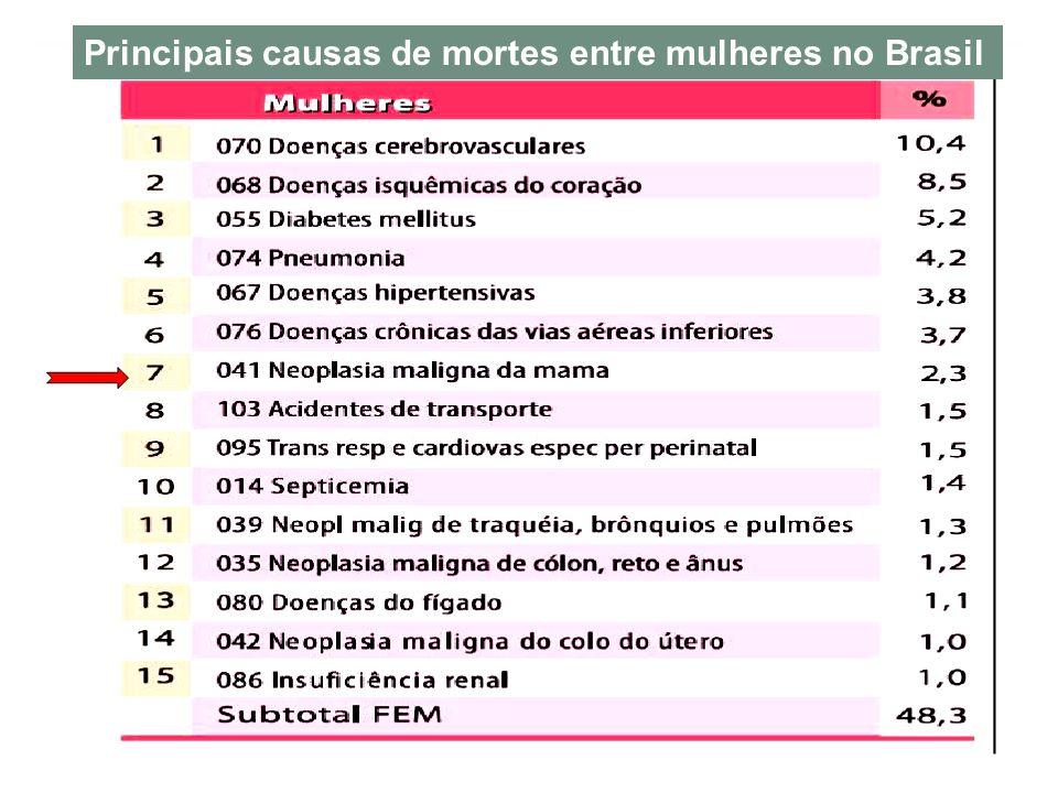 Principais causas de mortes entre mulheres no Brasil