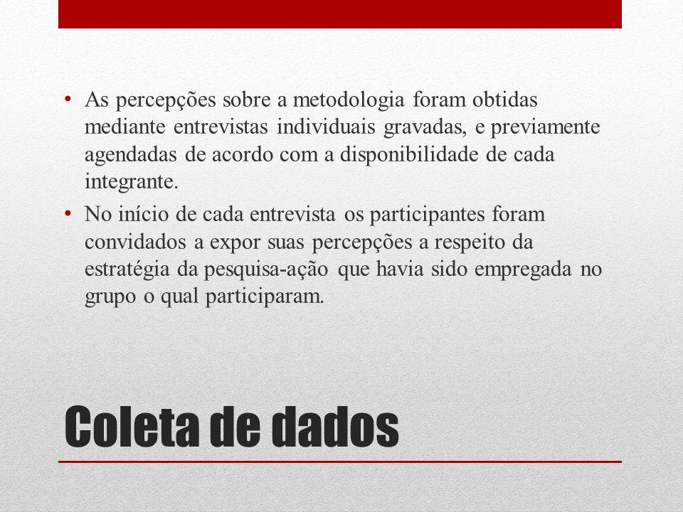 As percepções sobre a metodologia foram obtidas mediante entrevistas individuais gravadas, e previamente agendadas de acordo com a disponibilidade de cada integrante.