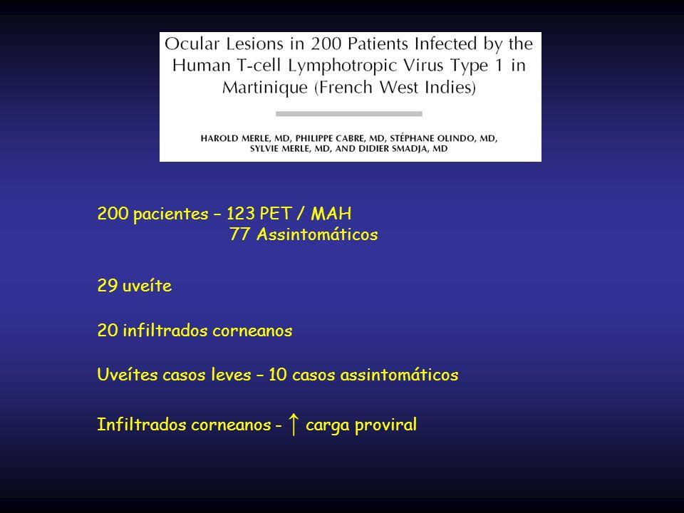 200 pacientes – 123 PET / MAH 77 Assintomáticos. 29 uveíte. 20 infiltrados corneanos. Uveítes casos leves – 10 casos assintomáticos.
