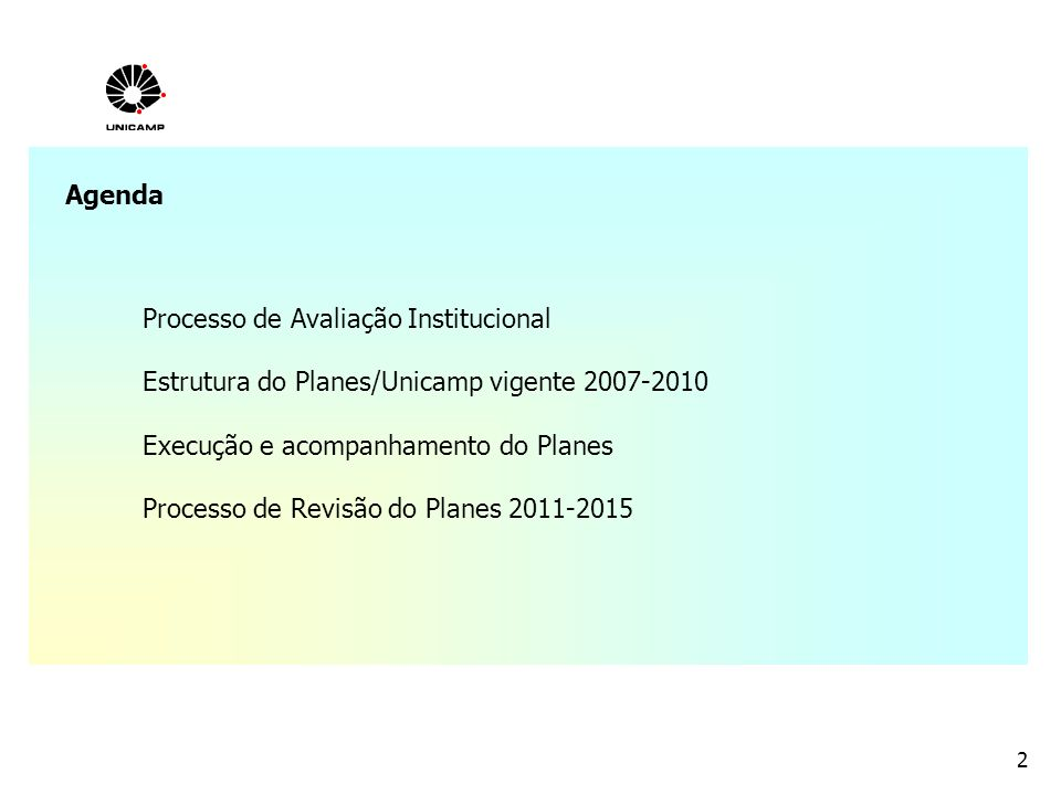 Agenda Processo de Avaliação Institucional. Estrutura do Planes/Unicamp vigente 2007-2010. Execução e acompanhamento do Planes.