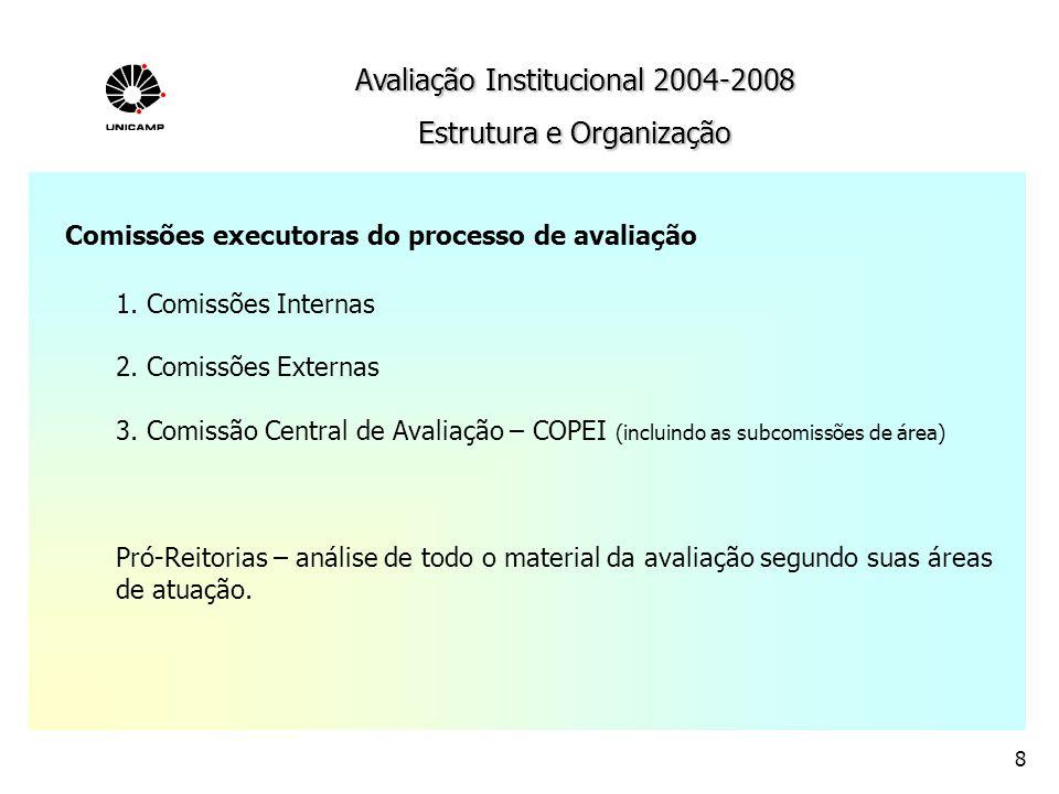 Avaliação Institucional 2004-2008 Estrutura e Organização